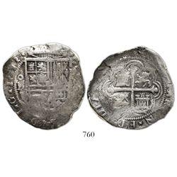 Mexico City, Mexico, cob 8 reales, 1611/10F, rare.