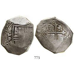 Mexico City, Mexico, cob 8 reales, 1665/4P, rare.