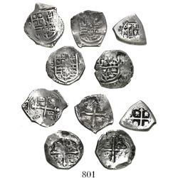 Lot of 5 Mexico City, Mexico, cob 2 reales, various periods (Philip IV to Philip V) and assayers (wh