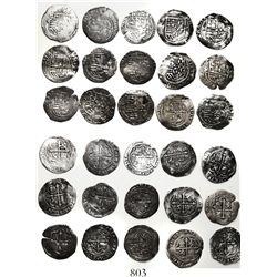 Lot of 15 Mexico City, Mexico, cob 1R, Philip II, assayer O.