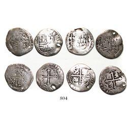 Lot of 4 Mexico City, Mexico, cob 1R, Philip II, assayers O and F.