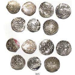 Lot of 7 Mexico City, Mexico, cob 1R, Philip II, assayers O and F.
