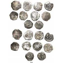 Lot of 10 Mexico City, Mexico, cob 1R, Philip III, assayers F or not visible.