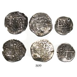 Lot of 3 Mexico City, Mexico, cob 1R, Philip II and IV, assayers O and P.