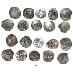 Lot of 10 Mexico City, Mexico, cob 1R, Philip III and IV, assayer D (where visible).