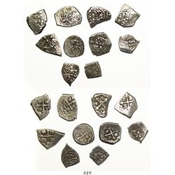 """Lot of 10 """"Meseta Central"""" hoard Mexican cob 1R (7) and 1/2R (3), Philip V, various assayers (where"""