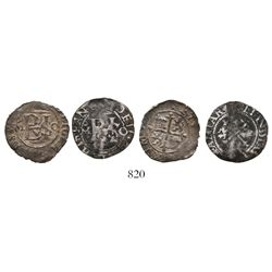 Lot of 2 Mexico City, Mexico, cob 1/2R, Philip II, assayer O to right, mintmark oM to left.