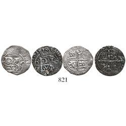 Lot of 2 Mexico City, Mexico, cob 1/2R, Philip II, assayer O (oM-O and O-oM).