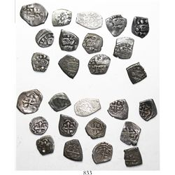 Mini-collection of 13 Mexico City, Mexico, cob 1/2R, ALL DATED (some very rare), as follows: 1647, 1