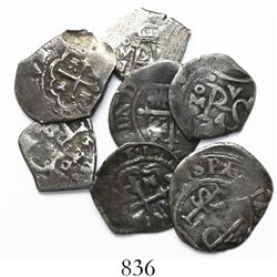 Lot of 7 Mexico City, Mexico, cob 1/2R, various periods (Philip II to Philip V) and assayers.