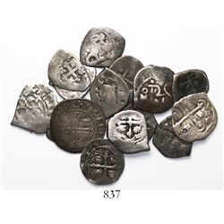 Lot of 16 Mexico City, Mexico, cob 1/2R, various periods (Philip II to Philip V) and assayers.