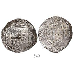 Lima, Peru, cob 4 reales, Philip II, assayer Rincon, R to left, motto PL-VSV-LT, rare.