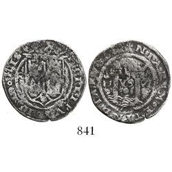 Lima, Peru, 1 real, Philip II, assayer R to left (Rincon), motto PL-VS-VL, legends breaking as HIS /