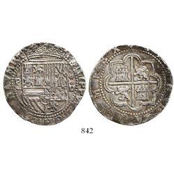 Lima, Peru, cob 8 reales, Philip II, assayer Diego de la Torre, P-(8) to left, *-oD to right.