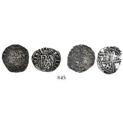 Lot of 2 Lima, Peru, cob 1/2R, Philip II, assayer Diego de la Torre, one with oD to left, P to right