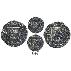 Lima, Peru, cob 1/4 real, Philip II, assayer Diego de la Torre, P to left and * to right of castle a