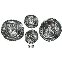 Lima, Peru, cob 1/4 real, Philip II, assayer Diego de la Torre, * to left and P to right of castle,