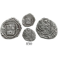 Lima, Peru, cob 1/4 real, Philip II, assayer Diego de la Torre, P to left and * to right of castle.