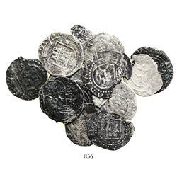 Large lot of 16 Lima, Peru, cob 1/4R, Philip II, assayer Diego de la Torre, various varieties.