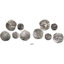 Lot of 5 Lima, Peru, cobs (three 2R and two 1/2R) of Philip II, assayer Diego de la Torre, various v