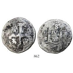Lima, Peru, cob 8 reales, 1720/19M, very rare.