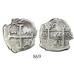 Lima, Peru, cob 2 reales, 1743V.