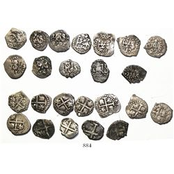 Lot of 12 Lima, Peru, cob 1/2R, all different dates: 1695, 1700, 1701H, 1702, 1703, 1717, 1722, 1743
