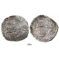 Potosi, Bolivia, cob 8 reales, Philip II, assayer B (3rd period), error denomination o-VIIII, ex-Bir