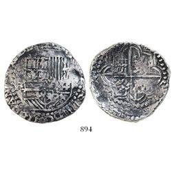 Potosi, Bolivia, cob 8 reales, Philip III, assayer R (curved-leg).