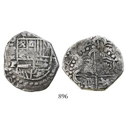 Potosi, Bolivia, cob 8 reales, (16)22P, lions and castles transposed in cross and in shield, rare.
