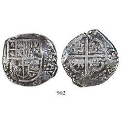 Potosi, Bolivia, cob 8 reales, Philip IV, assayer T (ca. 1629).