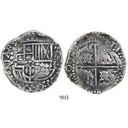 Potosi, Bolivia, cob 8 reales, Philip IV, assayer not visible (ca. 1629).