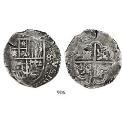 Potosi, Bolivia, cob 8 reales, (16)45, assayer not visible, rare.