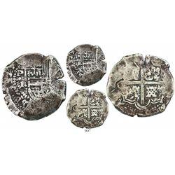 Potosi, Bolivia, cob 8 reales, Philip IV, assayer R (Ramirez, 1646-48), extremely rare.