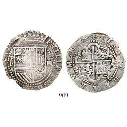 Potosi, Bolivia, cob 4 reales, Philip II, assayer R (Rincon) to left.
