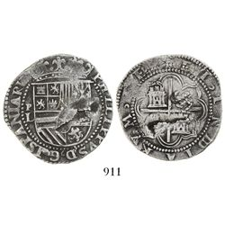 Potosi, Bolivia, cob 4 reales, Philip II, assayer L to left.