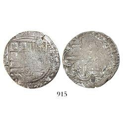 Potosi, Bolivia, cob 4 reales, Philip II, assayer R (Ramos, small letters).