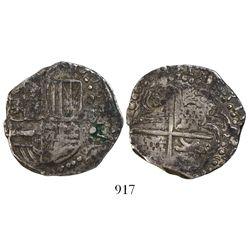 """Potosi, Bolivia, cob 4 reales, (162)1(?) (possibly """"16ZIII""""), assayer not visible, quadrants of cros"""