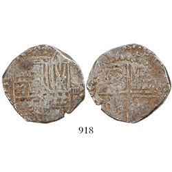 """Potosi, Bolivia, cob 4 reales, 1623T, date as """"16ZIII,"""" quadrants of cross transposed, extremely rar"""
