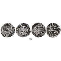 "Lot of 2 Potosi, Bolivia, cob 2 reales, Philip II, assayer B or B/L (1st period, ""Lima style"")."