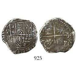 Potosi, Bolivia, cob 2 reales, Philip III, assayer R (straight-leg, Ramos).