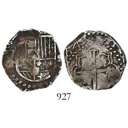 Potosi, Bolivia, cob 2 reales, 1645T, very rare.