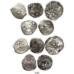 Lot of 5 Potosi, Bolivia, cob 2 reales, Philip IV, various assayers (where visible).