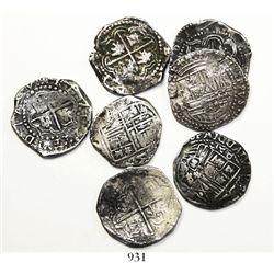 Lot of 7 Potosi, Bolivia, cob 2 reales, Philip II to Philip IV, various assayers.