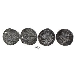 Lot of 2 Potosi, Bolivia, cob 1R, Philip II, assayer Rincon, one with R to left and one with R to ri
