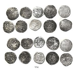 Lot of 10 Potosi, Bolivia, cob 1R, Philip II, assayer B (various periods).