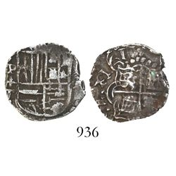 Potosi, Bolivia, cob 1 real, 1618T, upper half of shield and quadrants of cross transposed, rare.