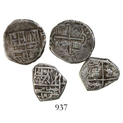Lot of 2 Potosi, Bolivia, cob 1R, Philip IV, assayer T to RIGHT (rare).