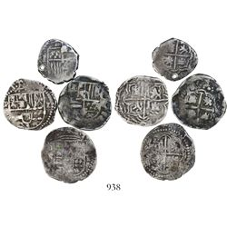 Lot of 4 Potosi, Bolivia, cob 1R, Philip II through Philip IV, assayer B and not visible.