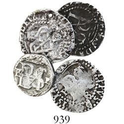 Lot of 4 Potosi, Bolivia, cob 1/2R, Philip II, assayer B (various periods).